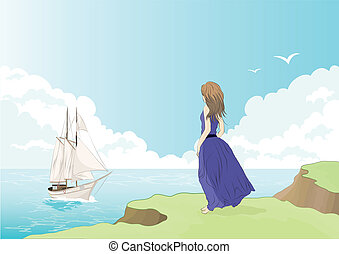 girl on the shore - vector illustration of a girl looking to...
