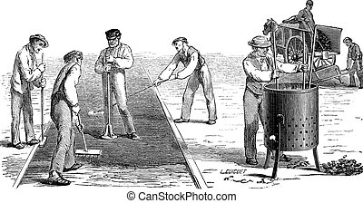 Road workers doing asphalt vintage engraving - Old engraved...