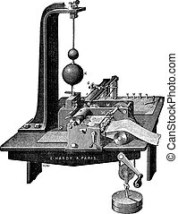 Copying Telegraph of Bernhard Meyer vintage engraving - Old...