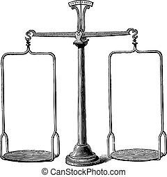 Balance scale vintage engraving - Old engraved illustration...