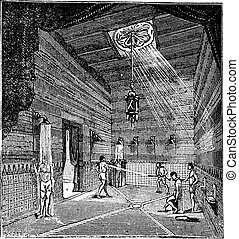 The roman period Shower room vintage engraving