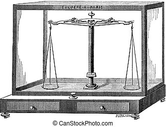 Analytical balance scale vintage engraving