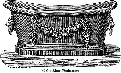 Zinc bathtub vintage engraving - Old engraved illustration...