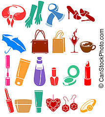 Set of different woman's things - Silhouette set of...