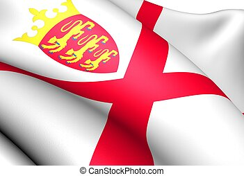 Bailiwick of Jersey flag Close up