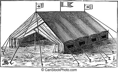 Double-wall tent vintage engraving - Old engraved...