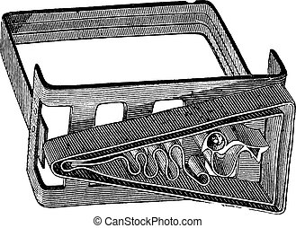 Old engraved illustration of an apparatus for making battik canvas painting. Industrial encyclopedia E.-O. Lami - 1875.