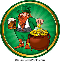 Leprechaun - St Patricks Day, Leprechaun with mug beer and...