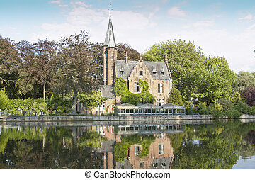 The Minnewater, Bruges - Minnewater lake is a canalized lake...