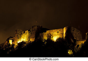 Bouillon castle at night - Bouillon Castle is a medieval...