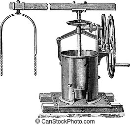 Mixer for the preparation of mortar vintage engraving - Old...
