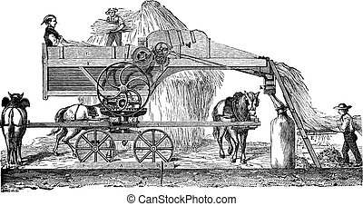 Threshing machine or thrashing machine vintage engraving -...
