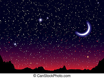 Space landscape red moon - Red sky at night with starry...