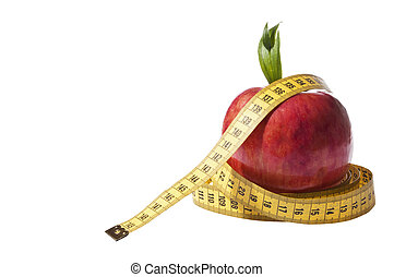 Red apple and measure tape - Loose weight concept