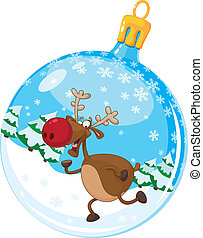 christmas ball with deer - illustration of a christmas ball...