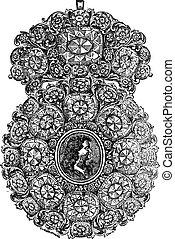 Brooch vintage engraving - Old engraved illustration of...