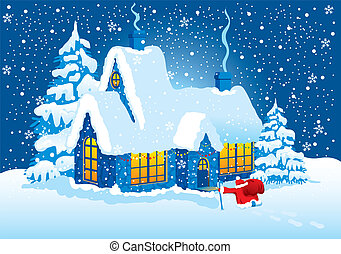 Christmas Night - Christmas night, Santa Claus comes to...