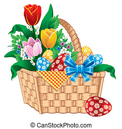 Easter Basket. Vector image.
