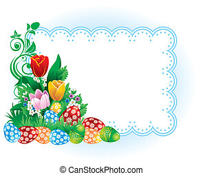 Easter banner with spring flowers and eggs. Vector image.