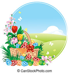 Easter banner with spring flowers and painted eggs Vector