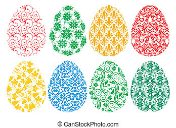 set of ornate Easter eggs