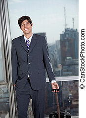 Businessman Heading For Business Trip - Portrait of handsome...