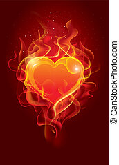 Flaming heart Beautiful vector background on Valentines Day...