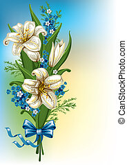 Bouquet with lilies and forget-me - Wonderful spring bouquet...