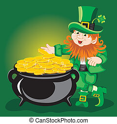 Leprechaun - St Patricks Day, cheerful Leprechaun Vector...