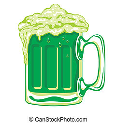 Green beer for the feast of St. Patrick, vector image.