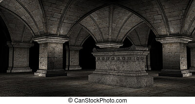Crypt - 3D rendered scene of dark crypt with tomb