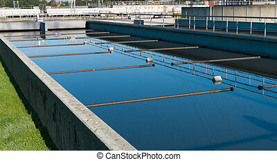 waste water plant - bassin where the wasted water is being...