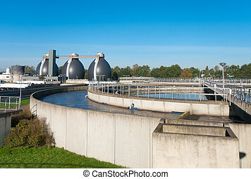 waste water plant - round bassin where the wasted water is...