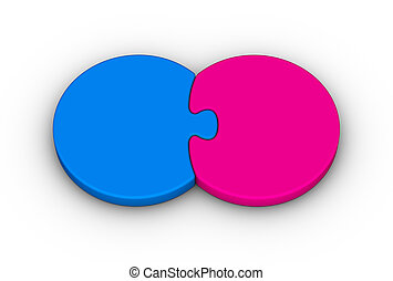 two puzzles - two jigsaw puzzles on white background