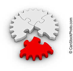 jigsaw puzzles gear - gear of jigsaw puzzles with one red...