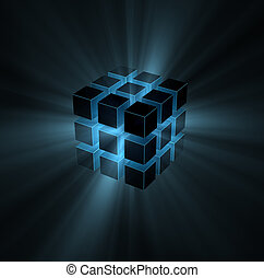 blue light beams from puzzle cube on black background