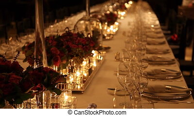 Elegant dinner table setting - Elegant candlelight dinner...