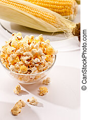 popcorn - food series: macro picture of popcorn in the bowl