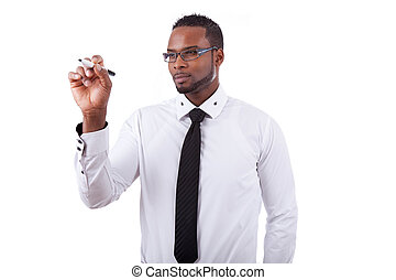 Young African american business man writing something on...