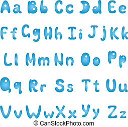 Alphabet, blue uppercase and lowercase letters on white...