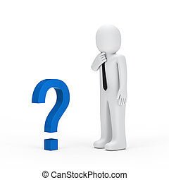 businessman small blue question mark - 3d businessman for...