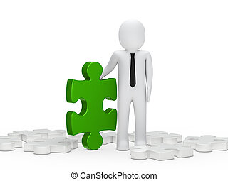 business man hold a puzzle green