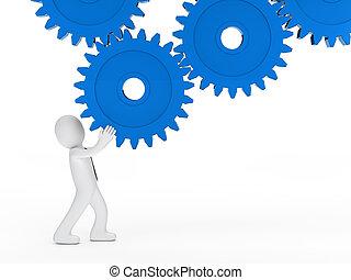 businessman blue mechanic gear