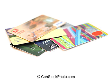 credit card - a lot of credit cards isolated on white...