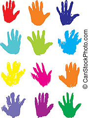 Hand Prints, vector. Editable and scalable illustration.