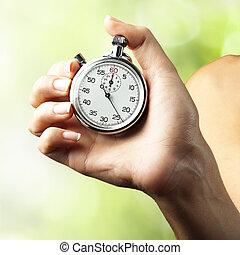 cronómetro, mujer, Empujar