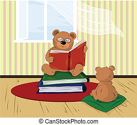home reading - vector dad bear reading a book to his Bear