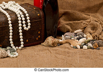 sea pearls and stones - chest with treasure, sea pearls and...