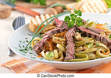 Pasta with grilled beef tenderloin - Tagliatelle with...