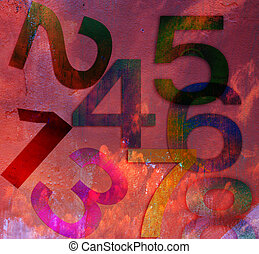 background in grunge style background with numbers